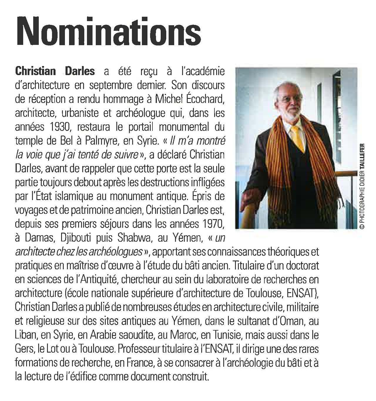 Nomination de Christian Darles à l'Académie d'Architecture