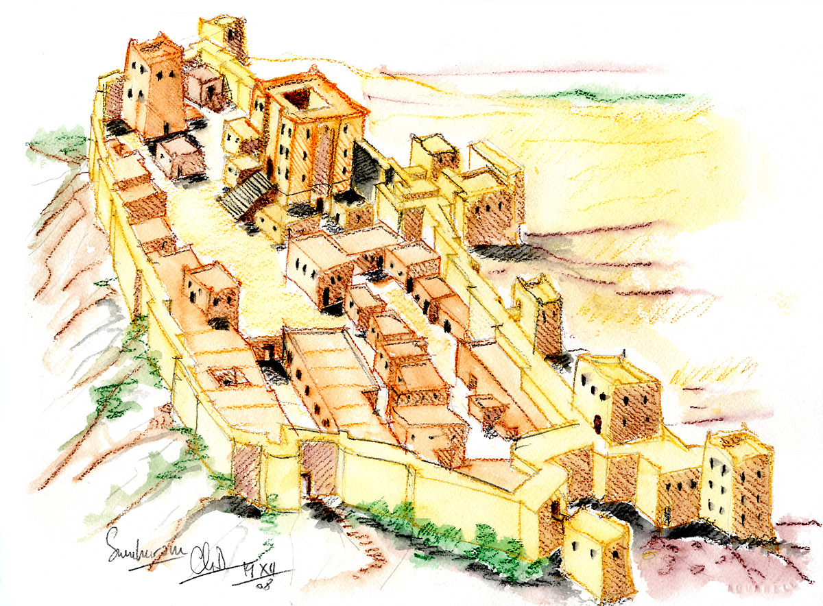 Restitution des fortifications Khor Rorî « Sumhuram » (aquarelle)