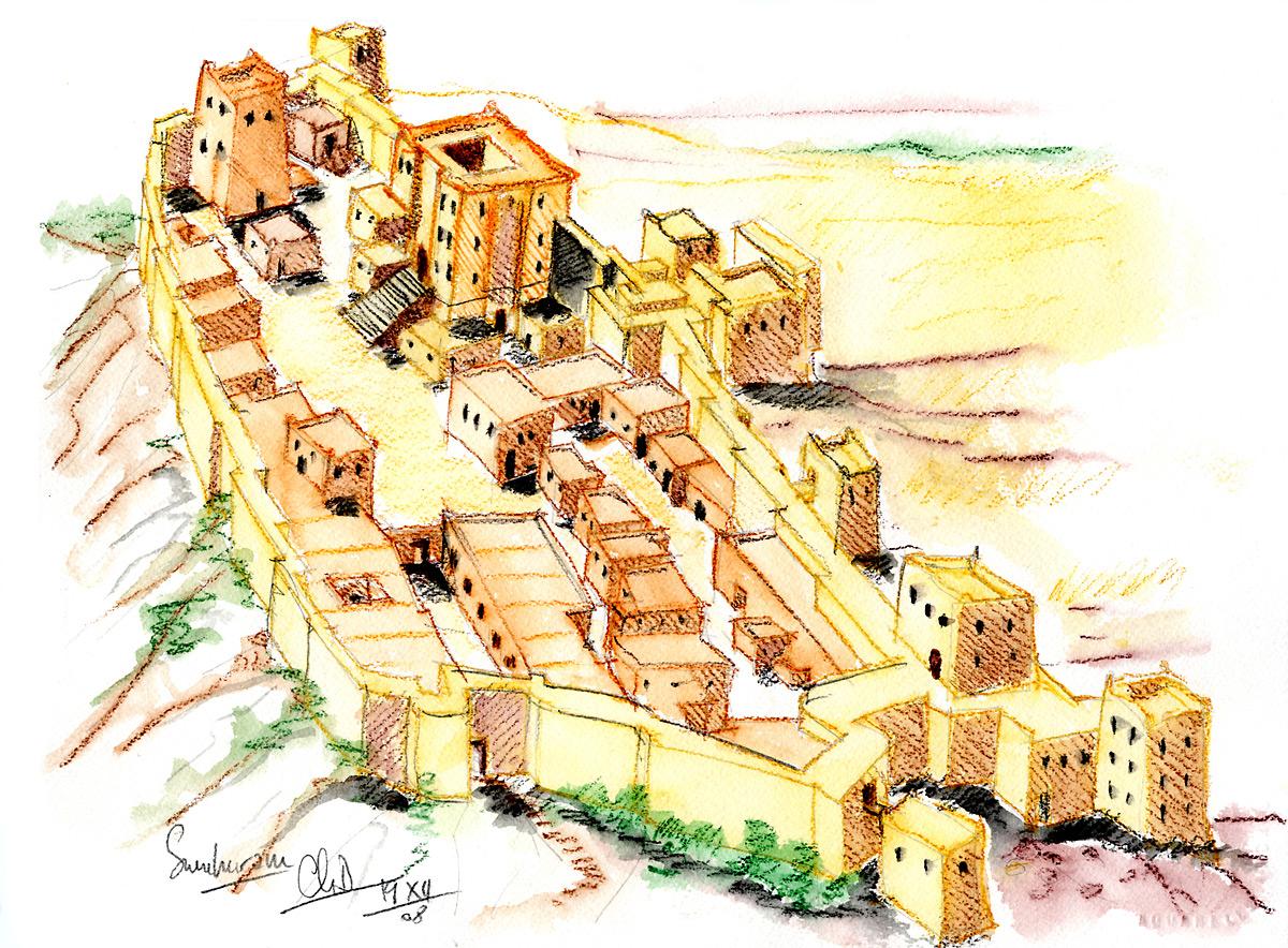 Restitution des fortifications Khor Rorî « Sumhuram » (aquarelle)