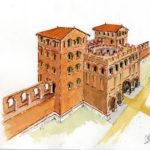"""Restitution de la façade intérieure de la """"Porterie"""", Place du Capitole à Toulouse"""