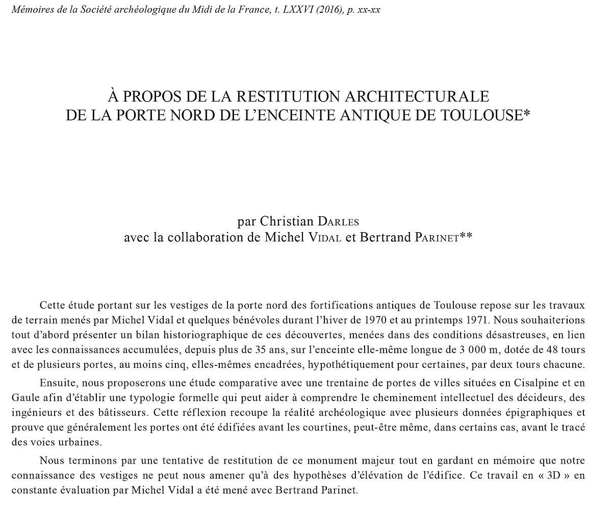 Introduction : à propos de la restitution architecturale de la porte nord de l'enceinte antique de Toulouse