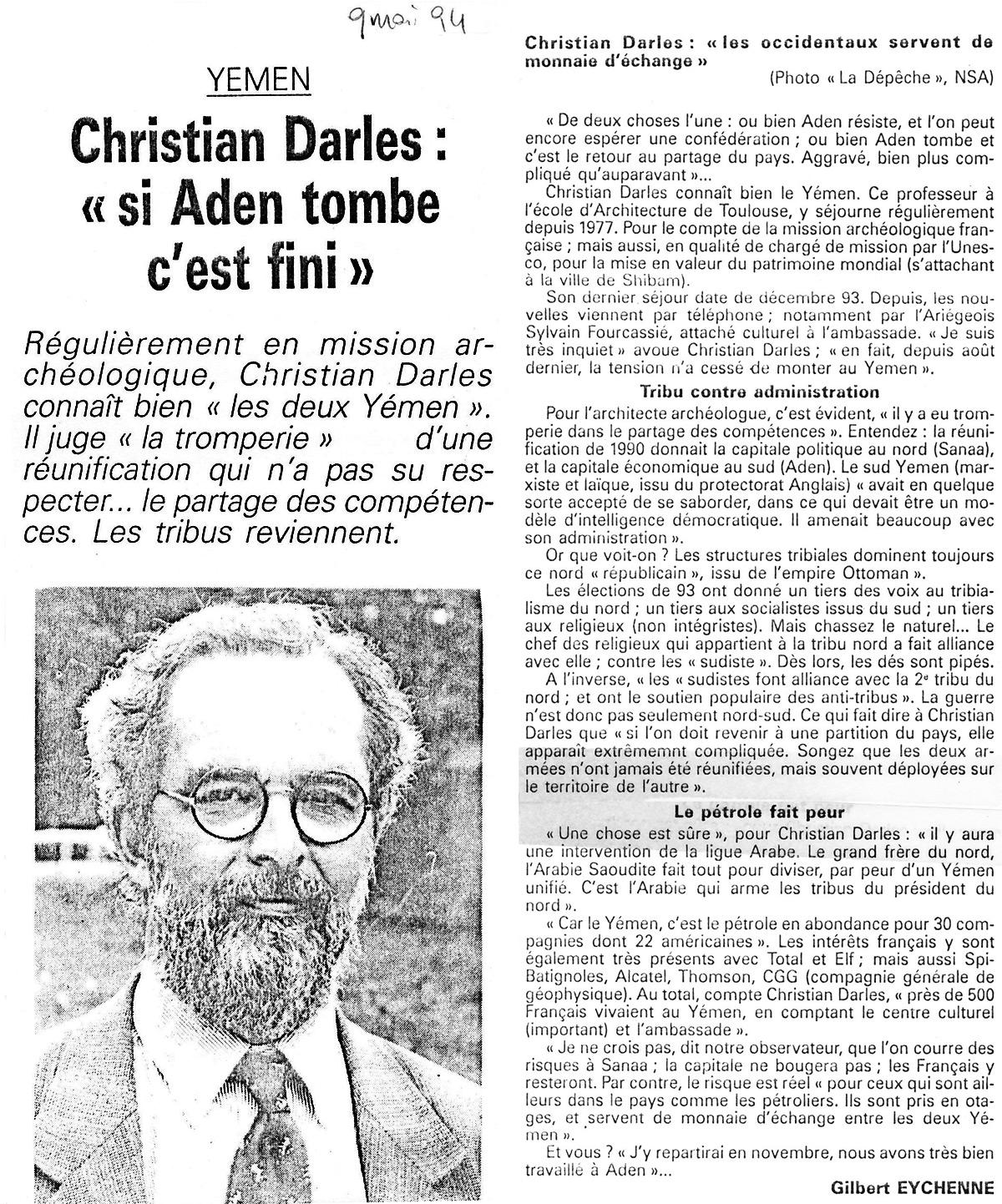 "Christian Darles ""si Aden tombe c'est fini"""